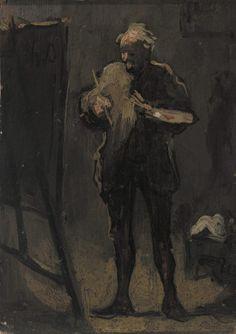 The Painter in Front of His Painting (Le Peintre devant son tableau) by Honoré Daumier, Barnes Foundation    Medium: Oil on panel