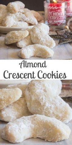 Crescent Cookies, almond, pecan or walnut these melt in your mouth Christmas Cookie Recipe are a must make.Almond Crescent Cookies, almond, pecan or walnut these melt in your mouth Christmas Cookie Recipe are a must make. Almond Meal Cookies, Walnut Cookies, Pecan Cookies, Xmas Cookies, Chocolate Cookies, Almond Chocolate, Almond Crescents Cookies Recipe, Melt In Your Mouth Butter Cookies Recipe, Gastronomia
