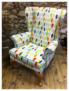 Living Room, Armchair covered in Laura Ashley Wallace Fabric. Matching Sofa Cushions. Handmade. http://emfurn.com