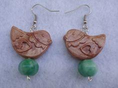 Bronze Polymer Clay Birds and Aqua Green by GrannysInspirations, $12.00