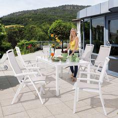 Gartenmöbel in weiß mit Verlängerungstisch