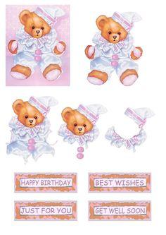 .Ourson bonnet Image Stitching, Decoupage, Baby Shower Clipart, 3d Sheets, Baby Clip Art, 3d Cards, 3d Prints, Baby Cards, Printable Art