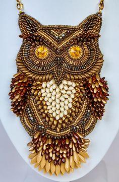 An amazing beaded owl jewelry creation!
