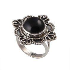 NEW STYLISH 925 STERLING SILVER BLACK ONYX CAB 5.28g RING JEWELLERY SIZE-5.5 #DSJ #Ring