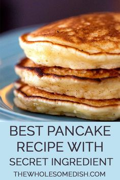 Three sour cream pancakes stacked on a plate Best Pancake Recipe - This tasty pancake recipe is easy and has a secret ingredient that gives them the perfect fluffy pancake consistency. Pancakes Nutella, Tasty Pancakes, Breakfast Pancakes, Breakfast Dishes, Sour Cream Pancakes, Butter Milk Pancakes Recipe, Greek Yogurt Pancakes, Oatmeal Pancakes, Breakfast