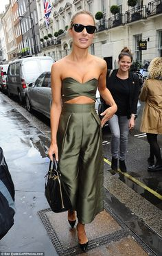 Fashion forward: Kimberley Garner wore a striking khaki coloured jumpsuit as she headed to Victoria Beckham's flagship London store on Friday Victoria Beckham Shop, Kimberley Garner, Kendall And Kylie Jenner, Sexy Dresses, Fashion Forward, Autumn Fashion, Jumpsuit, Style Inspiration, Chic