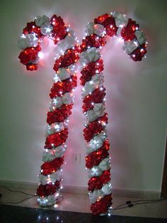 Candy Canes deco made with pet bottles and twinkle lites by rosely pignataro, via Flickr