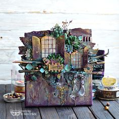 Amazing canvas by with new paint colors - Metallique Stormy Ocean and Sparks Night Shadow. and tones of my products. Altered Canvas, Altered Art, Mixed Media Canvas, Mixed Media Art, Scrapbook Canvas, Night Shadow, Art Basics, Mixed Media Scrapbooking, Mixed Media Tutorials