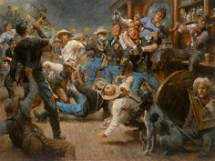 Fight at the Watering Hole Saloon wallpaper