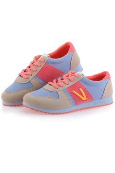 Comfortable Color Block Mesh Sneakers