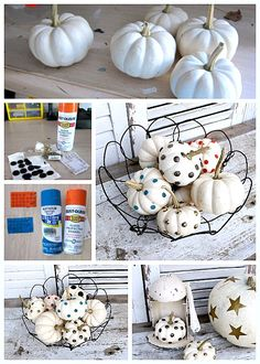 Use unique items to decorate small white pumpkins. I found brass upholstery tacks and gold star stickers to pimp my pumpkins.