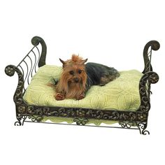 The perfect sleigh bed for your pet is hand-finished in faux antique brass this bed. The bed uses a standard pillow as cushion, not included.