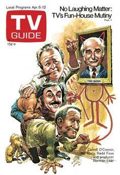 TV Guide April 6, 1974 - Carroll O'Connor, Norman Lear, Bill Macy and Redd Foxx.  Illustration by Jack Davis.