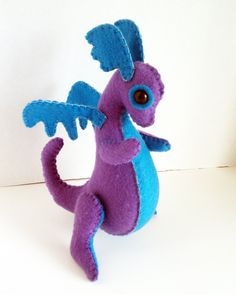 Baby Dragon felt plush stuffed animal- Firefly- Light purple with teal. $25.00, via Etsy.