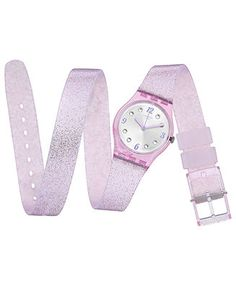 Swatch Women's Swiss Brillante Pink Glitter Silicone Double Wrap Strap Watch 25mm LP132 - Watches - Jewelry & Watches - Macy's