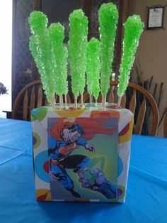 Kryptonite sticks for a Superman party