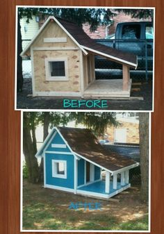 Diy Dog House project! Before and after.