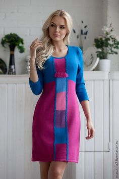 """Stylish bright knit dress """"Bright World"""" with geometric patterns, comfortable dress for each day Crotchet Dress, Knit Dress, Bright Dress, Casual Work Outfits, Fashion Colours, Crochet Fashion, Crochet Clothes, Beautiful Dresses, Fashion Outfits"""