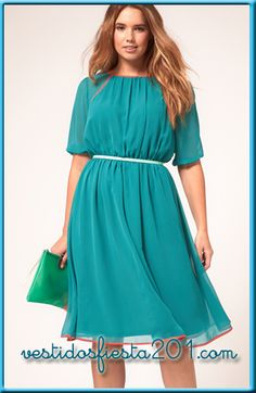 ASOS Curve teal dress with orange contrast piping. Nice color combo and fabric weight for spring. Sheer Chiffon, Chiffon Fabric, Plus Sise, Chubby Fashion, Robes Midi, Costume, Dress Picture, Style And Grace, Mi Long