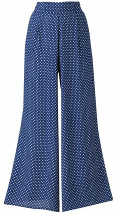 Blue Palazzo Pants  Get the look of a maxi dress with the ease of trousers with these blue polka dot palazzo pants. They would work great with a white button-up blouse tucked in, or even a cute crop top. Don them with your sturdiest pair of platform shoes for an extra elongated look! Available at SimpleBe for $52.50