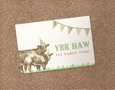 Farm Animal Invitation - perfect for a birthday, retirement or country wedding (DEPOSIT). $5.00, via Etsy.
