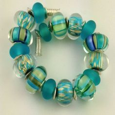 Lampwork Handmade Silver Glass Stipes and Frit Bead Set