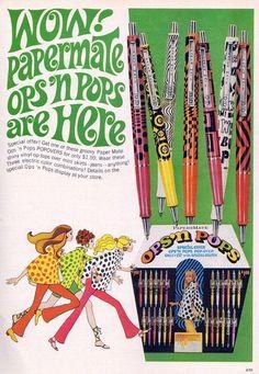 Papermate Ops 'N Pops Pens1967