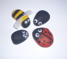 Rock Bugs - Preschool Craft Use resources wisely idea. Preschool Garden, Preschool Arts And Crafts, Preschool Projects, Preschool Class, Preschool Learning, Preschool Activities, Teaching Kids, Crafts For Kids, Insect Crafts