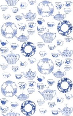 Blue tea pots, cups, and saucers.