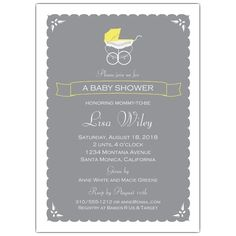 A Vintage Stroller Neutral Baby Shower Invitations