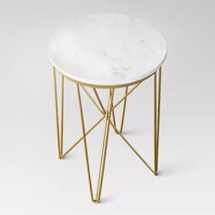 Marble Table: For A Trendy Look Marble Top Round Table Gold - Project : Target Small End Tables, Sofa End Tables, Side Tables, Funky Home Decor, Target Home Decor, Room Wall Decor, Bedroom Decor, My Living Room, Marble Top