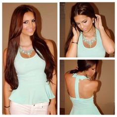 Sunday Funday in our Mint Peplum Top With Back Bow paired with our gorgeous Mint Fashion Stone Necklace Set 💃 Stone Necklace, Necklace Set, Icon Clothing, Sunday Funday, Peplum, Mint, Bow, Pairs, Shopping
