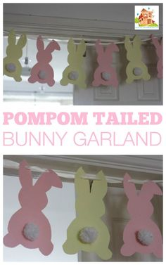 pompom tailed bunny garland. A fab kids craft for Easter and Spring this cute bunny bunting is fun to make and the pompom tails are perfect for fine motor skills.