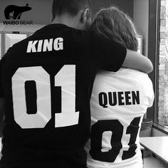 Hot 2016 King Queen T Shirt Print T-Shirts Couple Lovers Clothes Fashion Punk T… Please visit our store for more bargains at 1ChicFashionDesign.com and get 90% OFF, Free Shipping worldwide, and 30 money back gauranteed...