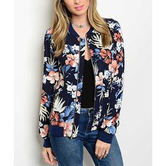 Shop the Trends Navy Floral Bomber Jacket ($18) ❤ liked on Polyvore featuring outerwear, jackets, floral print bomber jacket, navy flight jacket, navy bomber jacket, long jacket and bomber jacket