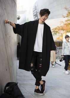 #streetstyle / #mizustyle -> Tjr aussi faible face à cette forme kimono/ haori revisité #MensFashionPants #MensFashionAsian