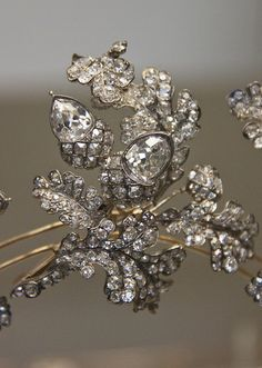 Detail of Diamond oak-leaf tiara, English, Hunt, London , about 1855. My favourite tiara. Love this one so much.