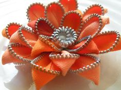 Orange Vintage Recycled Zipper Flower Brooch or Hair Clip via Etsy