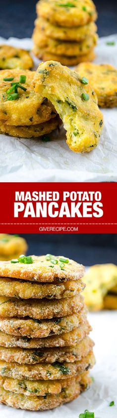 Mashed Potato Pancakes are the best treats to use up leftover mashed potatoes. These are crispy outside and melting inside. Glutenfree too. | giverecipe.com | #potato #pancakes