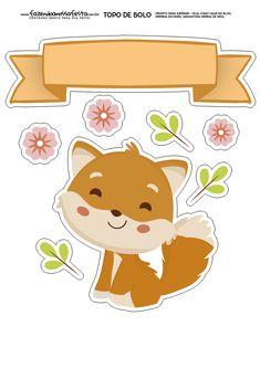 Topo de Bolo Raposinha 6 totalmente grátis, pronto para personalizar e imprimir em casa. Printable Designs, Printable Stickers, Planner Stickers, Diy And Crafts, Crafts For Kids, Arts And Crafts, Paper Crafts, Ideas Scrapbook, Fox Party