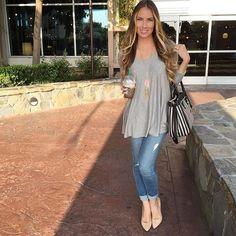 @angelalanter rocks her AOS denim while furniture shopping