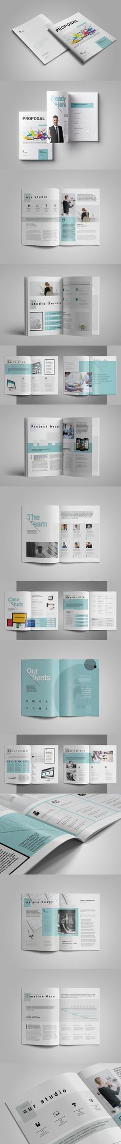 Clean Proposal Template InDesign INDD - 24 Pages, Two different Sizes A4 and US Letter