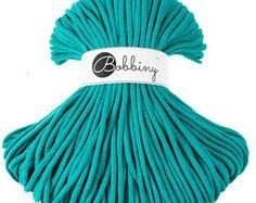 5mm Bobbiny Cotton Cord 108 yards (100 meters) - Dark mint, Marrs Green; macrame cord, chunky yarn, cotton rope