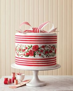Ikat and French Silk Ribbon Wedding Cake | Martha Stewart Weddings