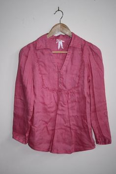Wolsey Womans Lady's Girls Fashion Designer Pink Color Top 100% Linen Size 12
