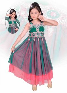 Light Pink And Teal Net Readymade Kids Gown Dress