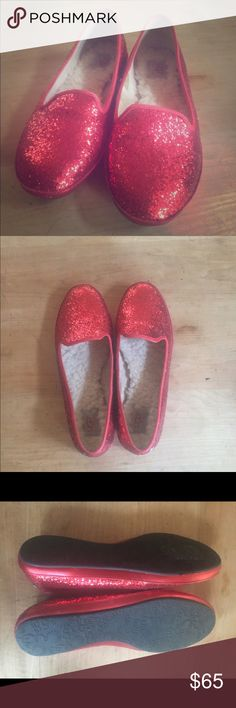 a6d400a69c2 UGG AUSTRALIA WOMEN S ALLOWAY GLITTER Slippers Fabulous (red ruby slippers)  glitter Ugg loafers house slippers women s size 9. Gently worn on only a  handful ...