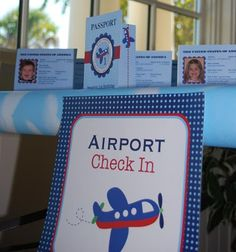 "Welcome party guests with individualized #passports at your ""airport check in!"" 
