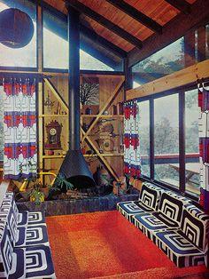 Vintage bohemian sunken living space - Australian House & Garden, 1975.