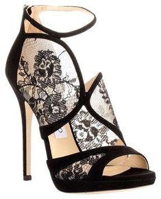 Head over Heels - Jimmy Choo Flyte black suede lace sandal Black Lace Shoes, Black High Heel Sandals, High Heels Stilettos, Stiletto Heels, Black Suede, Shoes Sandals, Suede Sandals, Heeled Sandals, Suede Leather